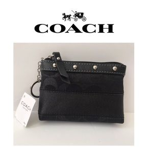 🆕 NWT Coach Rare Zippered Keyring Small Case